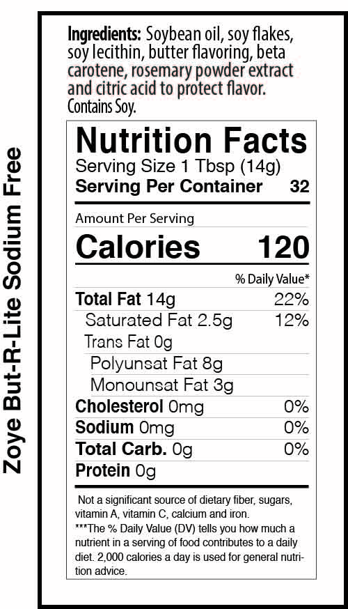 Zoye But-R-Lite 16oz sodium free nutrition facts table