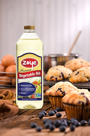 Zoye Premium Vegetable Oil with blueberry muffins