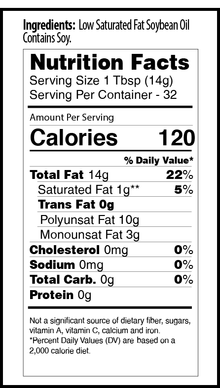 Zoye 32oz low sat nutrition facts table