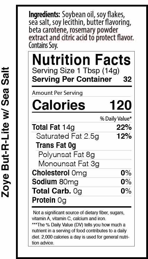 Zoye But-R-Lite 16oz sea salt nutrition facts table