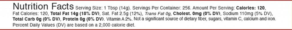 Zoye But-R-Lite Sea Salt 1 Gallon nutrition facts table