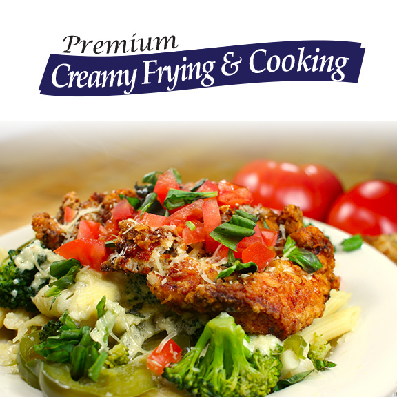 creamy frying and cooking vegetable oil