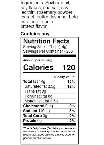 Zoye But-R-Lite 1 gallon nutrition facts table