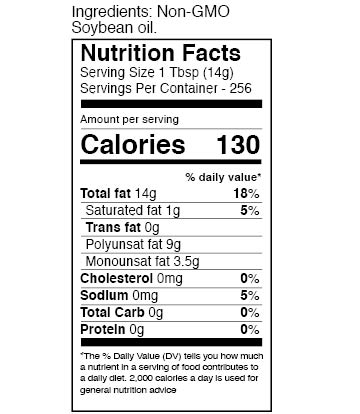 Zoye Premium Vegetable Oil 1 gallon nutrition facts table